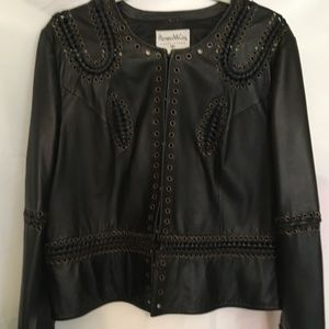 Pamela McCoy Collections Black Leather Jacket